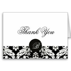 Black and White Damask Monogram Thank You Cards