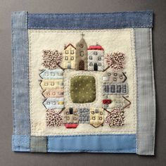 MIni square quilted and elaborated with skillfulness and taste. What about embroidered blooming trees? Just lovely! Applique Patterns, Applique Quilts, Quilt Patterns, Small Quilts, Mini Quilts, Scrap Fabric Projects, Sewing Projects, Hand Embroidery, Machine Embroidery