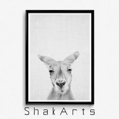Kangaroo Print Kangaroo Black and White Animal by ShakArts on Etsy