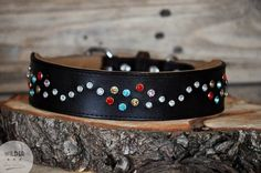 Crystal Leather Dog Collar in Show-Brown by Wilder-Collars
