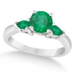 Pear Cut Three Stone Emerald Engagement Ring 14k White Gold (1.50ct) - Allurez.com
