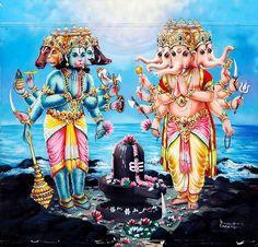 Hindu Cosmos — Hanuman And Ganesha Praying To Shiva Linga Mid. Lord Shiva Pics, Lord Shiva Hd Images, Lord Shiva Family, Shiva Parvati Images, Hanuman Images, Lord Ganesha Paintings, Lord Shiva Painting, Om Namah Shivaya, Shri Hanuman