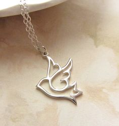 Dove Bird sterling silver charm necklace, Minimal Collection, Peace necklace