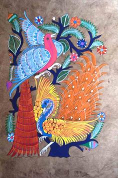 Dos Mujeres Mexican Folk Art - Hand Painted Amate Bark Painting