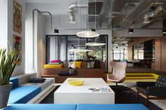Colorful dorm with lots of seating