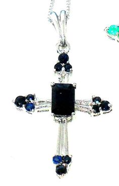 1.10ctw  Blue Sapphire Cross Pendant in Sterling Silver   #CrossPendant http://stores.ebay.com/JEWELRY-AND-GIFTS-BY-ALICE-AND-ANN