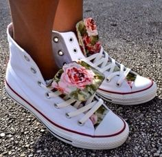 White and floral converse.