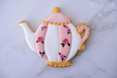 teapot cookies , cookie , icing cookie , rose , royalicing , edible art , sugar cookies , sugarcraft,pink