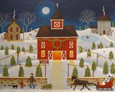 """Christmas Tree Farm"" Folk Art Painting by Mary Charles starlitestudios.blogspot.com"