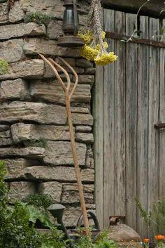 old wooden pitchfork