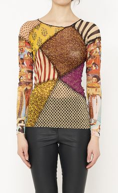 Jean Paul Gaultier Soleil Yellow, Tan And Multicolor Top | VAUNTE