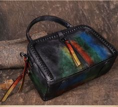 Handmade Natural Leather Handbag Shoulder Bag Small Satchel in Colorful Yellow Red YS02