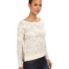 Floral Fields Sweater White (kind of an off white) and grey sweater with side zippers. Slightly loose fit and can hang off a shoulder. Very warm! Worn once! Free People Sweaters Crew & Scoop Necks