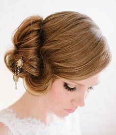 chignon wedding hairstyles, low bun wedding hairstyles - side bun