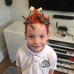 Campfire hair idea for crazy hair day for boys.