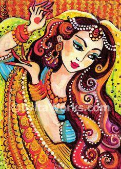 Indian dance art feminine beauty Indian bride art by EvitaWorks Indian Artwork, Indian Art Paintings, Indian Folk Art, Cherokee Indian Art, Ravivarma Paintings, Madhubani Art, Madhubani Painting, Painting Of Girl, Fabric Painting