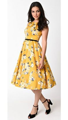 1950s Style Yellow & Floral Print Hepburn Swing Dress
