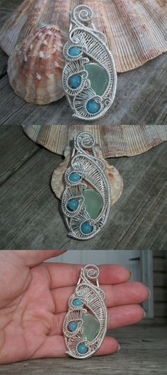 Necklaces and Pendants 110655: Genuine Sea Glass And Aquamarine .925 Sterling Silver Heady Wire Wrap Pendant -> BUY IT NOW ONLY: $45 on eBay!