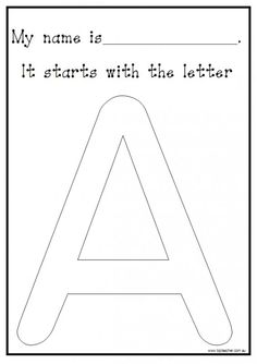 Use this activity with your students to reinforce the initial letter of their name. You may like to have the students paint their letter using different colours to practise correct letter formation, o Kindergarten Names, Preschool Names, Preschool Letters, Letter Activities, Learning Letters, Kindergarten Literacy, Preschool Classroom, Preschool Learning, Writing Activities
