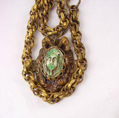 Vintage  DECO Egyptian REVIVAL Czech necklace by vintagesparkles, $195.00