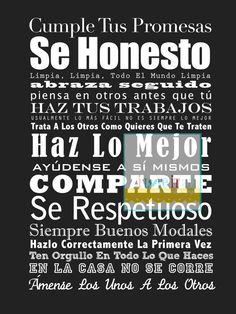 Spanish Language House and Family Familia Rules  . 13x19  // Subway Art Poster Print // Spanish Espanol Language. $45.00, via Etsy.