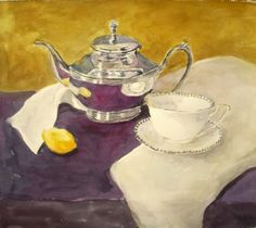 """Tea With Lemon"" watercolor painting by Sharon Giles"