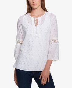 Tommy Hilfiger Lace-Detail Peasant Top, Created for Macy's - White/Gold XXL