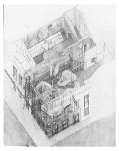 Axonométrica. Nueva Sala Beckett por Flores&Prats.