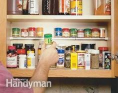 Use a small tension rod for the tiny spices, etcetera! Smart.  Kitchen Storage Solutions: Pantry Storage Tips & Cabinet Organization Tips