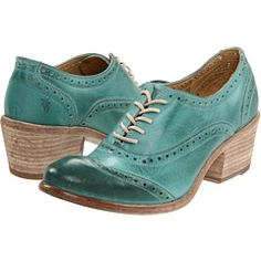 I don't think I could possibly want these more. Turquoise! Stack heel! Brogues! Perfect for handknit socks, too.