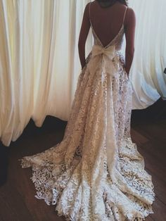 Dress: lace wedding dresses, wedding dress, prom dress, open back, ball gown, lace, white lace dress, bow, spaghetti strap, beautiful dress, backless - Wheretoget