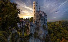 Lataa kuva Liechtenstein-Linna, metsä, sunset, Wurttemberg, Saksa