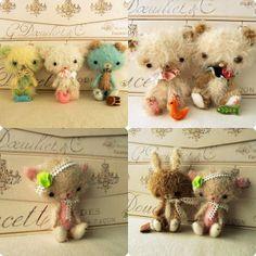 Mohair Animals Bunny Bear Puppy and Kitten pdf by Gingermelon Bear Puppy, Bunny And Bear, Soft Sculpture, Fabric Dolls, Felt Flowers, Softies, Handmade Toys, Creations, Puppies