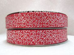 5 yards of 7/8 Silver Foil Swirls on Red by JanesCraftSupplies