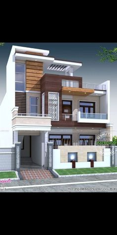 Ideas House Design Front View Modern For 2019 House Outer Design, Small House Design, Cool House Designs, Modern House Design, 3 Storey House Design, Duplex House Design, Front Wall Design, Bungalow Haus Design, House Architecture Styles