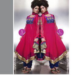 $113.50 Pink Full Sleeve Faux Georgette Long Anarkali Salwar Kameez 20502
