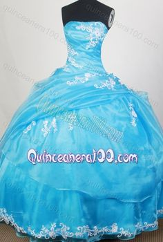 Strapless Ball Gown Appliques and Beading Quinceanera Dresses in Aqua Blue
