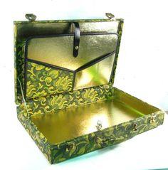 Vintage vinyl brief case, laptop case, green damask and metallic gold. $40.00, via Etsy.