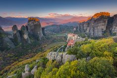The Holy Monastery - Sunrise at The Holy Monastery of Rousanou in Meteora Greece. This was Sunday and I was alone on the rock outcrop. Unfortunately, I couldn't capture the sound of prayer coming from the monasteries. Just beautiful music along with the still morning made for a wonderful experience to capture.