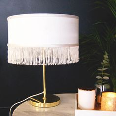 Fringed Gold Table Lamp Bedside Lamp by The Luxe Co, the perfect gift for Explore more unique gifts in our curated marketplace. Lamp Shade, Bedside Table Lamps, Interior, Lamp, Bedside, Gold Diy, Gold Table, Table, Gold Table Lamp