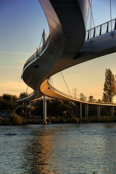 The Nescio Bridge is the first suspension bridge in the Netherlands and spans the Rhine Canal, designed by Jim Eyre of WilkinsonEyre London