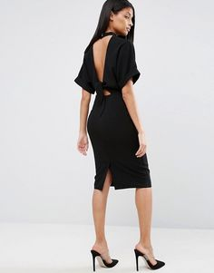 ASOS High Neck Open Back Wiggle Dress