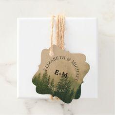 Rustic Pine Tree Wedding Favor Tag