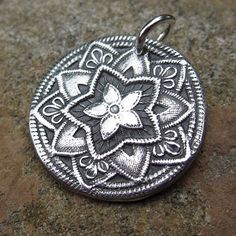 Fine Silver Charm PMC Focal Pendant with Sterling Silver Jump Ring  -Flower of Hope-