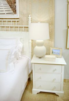 White out // Kellogg Collection bedroom side table, lamp & accessories.