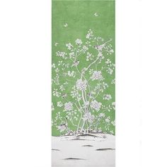 Schumacher Mary Mcdonald Chinois Palais Floral Lettuce Green Wallpaper... ($490) ❤ liked on Polyvore featuring home, home decor, wallpaper, green, green wallpaper, green bird wallpaper, square wallpaper, schumacher and flower pattern wallpaper