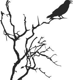 Raven in a Tree Vinyl Sticker
