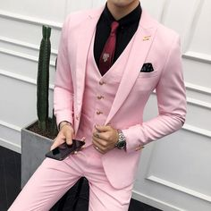 Pink Suits Mens Wedding Dress for Man Red Suits White Trajes De Hombre Purple Suit Slim Fit Male Black Tuxedo Costume Homme 2018 /collections/mens-suits-blazers Pink Suit Men, Mens Suit Colors, Purple Suits, Red Suit, Black Suits, Costume Rose, Costume Blanc, Mode Costume, Indian Men Fashion