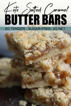 Keto Salted Caramel Butter Bars Ooey, gooey, tender, and sugar-free! These melt-in-your-mouth low carb crumb bars are filled with decadent keto caramel sauce. So absolutely divine and no one will be able to believe they are keto-friendly! Low Carb Sweets, Low Carb Desserts, Sugar Free Desserts, Sugar Free Recipes, Party Desserts, Keto Cookies, Carb Free, Galletas Keto, Salted Caramel Bars