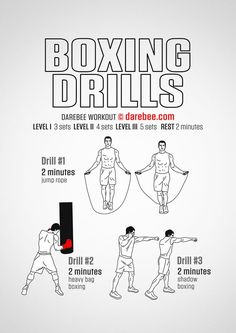 Add these boxing drills inot your workout for some serious speed, power, stamina and fitness! Boxer Workout, Boxing Training Workout, Home Boxing Workout, Mma Workout, Kickboxing Workout, Boxing Workout With Bag, Boxing For Fitness, Parkour Workout, Boxing Routine